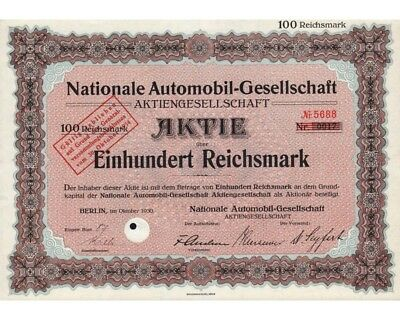 Nationale Automobil-Gesellschaft AG 100RM 10/1930