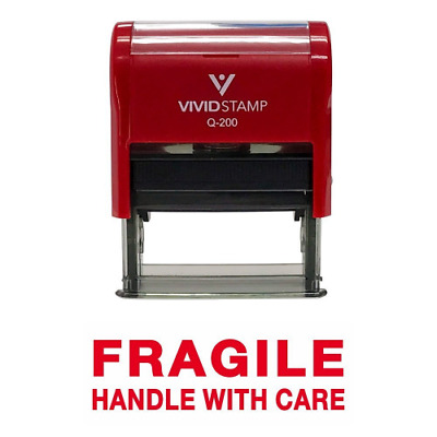 FRAGILE HANDLE WITH CARE Self Inking Rubber Stamp (Red Ink) - Medium