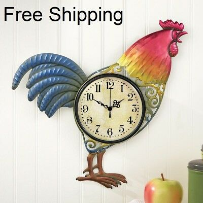 Colorful Hand Painted Metal Rooster Wall Clock Kitchen Wall Clocks Home Decor
