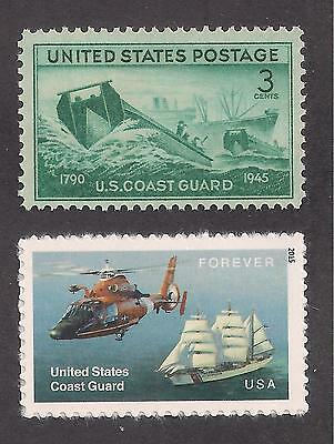 Set Of 2 U.s. Coast Guard Postage Stamps (Issued In 1945 & 2015) Mint Condition