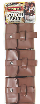 Brown Faux Leather Unisex Adult Steampunk Pouch Belt Halloween Costume Accessory