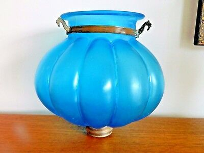 Beautiful Antique French Blue Glass Globe Shaped Vintage Light/ Lamp Shade