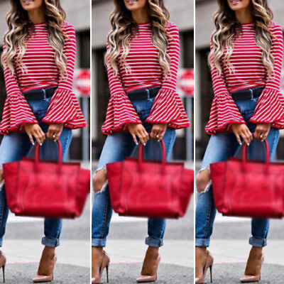 Fashion Womens Lace Long Bell Sleeve Shirt Loose Casual Stiped Blouse Tops S-2XL