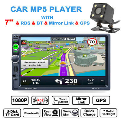 "7"" Double 2 DIN Stereo Car MP3 MP5 Radio Player GPS Nav Touch Bluetooth + Camera"