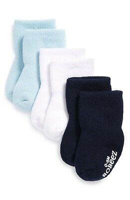Robeez Babys 1445 Blue White Black Terry Bootie Socks Size 0-6months (3 Pack)
