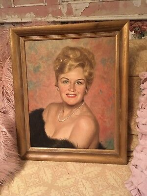 Vintage Oil Painting Sassy blue-eyed Lady portrait on canvas 1950s