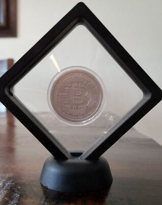 Bitcoin 1 oz 999 fine Solid silver bu commemorative limit crypto currency Framed