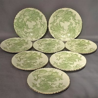 Antique & Rare CROWN STAFFORDSHIRE - GREEN DRAGON - 6 x SIDE PLATES, 2 x SAUCERS