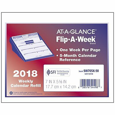 "2018 At-A-Glance SW705X-50 Flip A Week Calendar Refill, 7 x 5-5/8"", Refill Only"