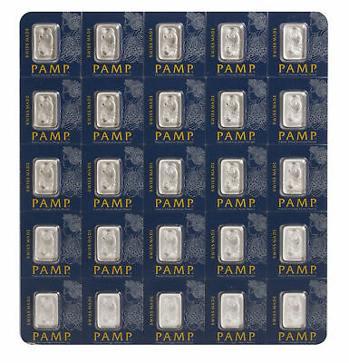 Lot of 25 - 1 gram Platinum Pamp Suisse Bar .9995 In Assay Multigram Fortuna