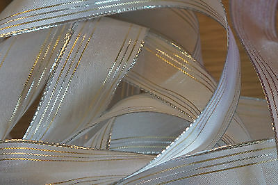 1m Wire Edged Everyday Ribbon. White With Gold & Silver Metallic Stripes