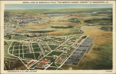 Shreveport LA Barksdale Field Aeril View Linen Postcard