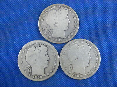Lot Of 3 Us Barber Half Dollar 50 Cent Coins 1897 1898 S 1900