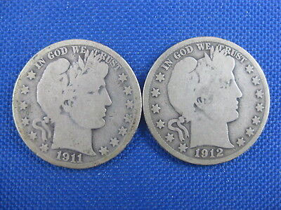 Lot Of 2 Us Barber Half Dollar 50 Cent Coins 1911 S 1912 S
