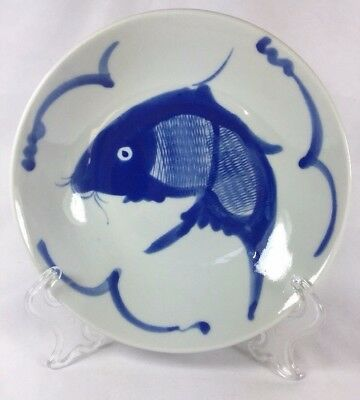 Vintage Chinese Blue Koi Karp Hand Painted Porcelain Serving Concave Bowl