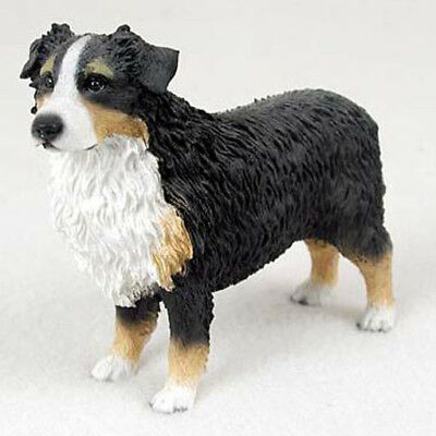 AUSTRALIAN SHEPHERD AUSSIE (tri color) DOG Figurine Statue Hand Painted Resin