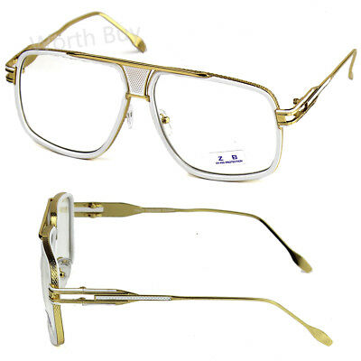 3ea8341d02 White Gold DMC Square Gazelle Hip Hop Clear Lens Frame Glasses Fashion  Designer