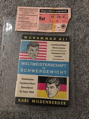 Muhammad Ali Vs Karl Mildenberger Program And Ticket - Very Rare