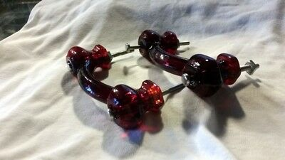Vintage Red Ruby Glass Drawer Pulls