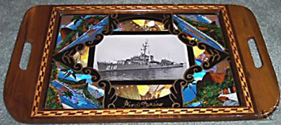 Butterfly Wing Marquetry Tray With USS Darby Destroyer