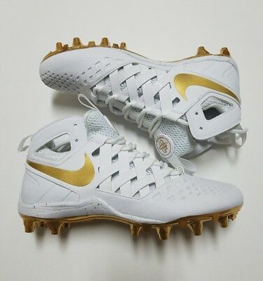 Nike Huarache V LAX Lacrosse Cleats 807142 170 Men's Size 7 White Metallic Gold