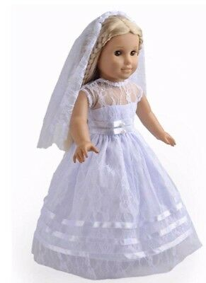 """Wedding Dress and Veil, American Girl, Baby Born Doll, Our Generation, 18"""" Doll"""