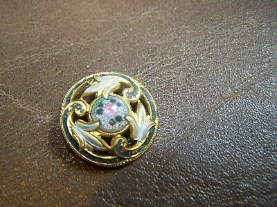 Beautiful Antique~ Vtg Victorian French Champleve ENAMEL BUTTON
