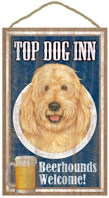 "Top Dog Inn Beerhounds Goldendoodle Bar Sign Plaque dog 10""x16""  Beer"