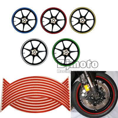 16 Strips Reflective Motorcycle Car Rim Stripe Wheels Decal Tape Stickers Decor