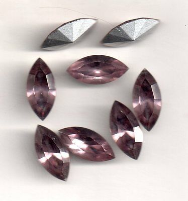 8 Strass Navettes 4200 -  15X7 Coul Amethyte Clair Similisage Argent