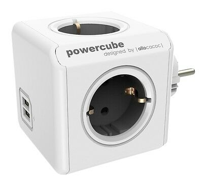 Mehrfachsteckdose allocacoc PowerCube Original USB grau Type F für Extended Cube