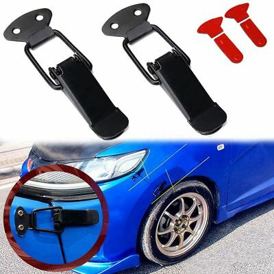 2x Universal Black Car Bumper Trunk Fender Hatch Lids Quick Release Fastener Set