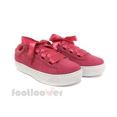 ce0138c2a6a Puma Vikky Platform Ribbon 364979 02 womens pink sneakers casual shoes Soft  Foam