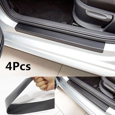 4Pcs Top Carbon Fiber Look Car Door Plate Sill Scuff Cover Anti Scratch Sticker