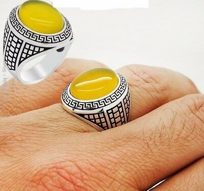 Turkish Handcraft 925 Sterling Silver  Jewelry Yellow Agate Men's Ring