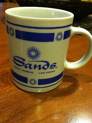 SANDS HOTEL & CASINO Retro Blue And White Coffee Cup Mug Las Vegas Baby!