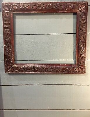 Antique Picture Frame French Carved Wood Grapes 19th Century