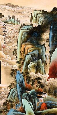 ORIGINAL ASIAN ART CHINESE SANSUI WATERCOLOR PAINTING-Antique Mountains&house