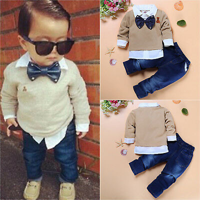 Baby Kinder Jungen Langarm Shirt Hemd Top Denim Hose Outfits Set Gentleman Anzug