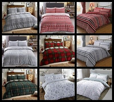 Thermal 100% Brushed Cotton Flannelette Quilt Duvet Cover Bed Set Cosy Warm Soft