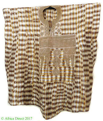 Hausa Grand Boubou Outfit Brown Stripes Textile Nigeria African Art