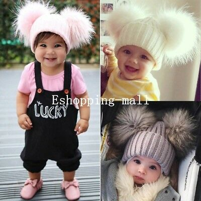 Baby Boys Girls 13cm Fur Double Pom Pom Hat Winter Knit Bobble Beanie Cap New