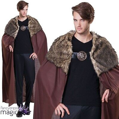 *Long Cape Cloak John Snow Game of Thrones Fancy Dress Costume with Fur Collar*