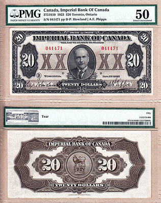 1923 $20 Imperial Bank of Canada Large Size.  Rare Note in PMG Certified AU50