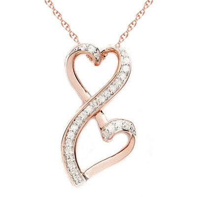 1/5ct Natural Diamond Double Heart Pendant Necklace 14k Rose Gold Over
