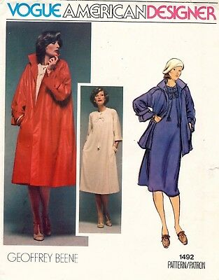 1970's VTG VOGUE Dress and Coat Geoffrey Beene Pattern 1492  Size 10 UNCUT