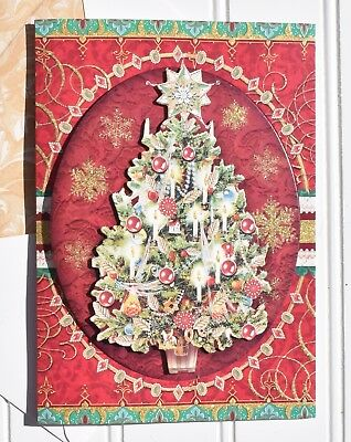 Punch Studio* Christmas 12 Embellished Cards ~ Classic Red Christmas Tree 60801