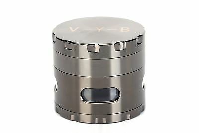 """Large Spice Tobacco Herb Weed Grinder-4 Pcs with Pollen Catcher-2.5"""" Gift Gray"""