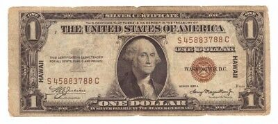 1935 A US Emergency Wartime Issue Hawaii $1 Brown Seal Currency Note! C3788