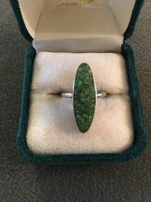 Vintage Silver Tone Green Stone? Ring Size 5.25 (M)